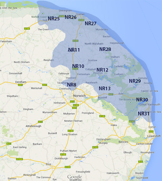 norfolk postcode area map