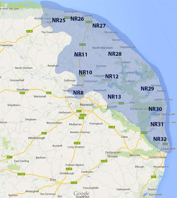 norfolk postcode area map 1019